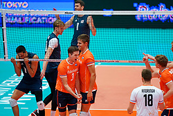11-08-2019 NED: FIVB Tokyo Volleyball Qualification 2019 / Netherlands - USA, Rotterdam<br /> Final match pool B in hall Ahoy between Netherlands vs. United States (1-3) and Olympic ticket  for USA / Maarten van Garderen #3 of Netherlands, Thijs Ter Horst #4 of Netherlands, Micah Christenson #11 of USA