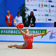 Ashram Linoy during qualifying at ball in Pesaro World Cup at Adriatic Arena on April 01, 2016. Linoy is an Isrlaelian rhythmic gymnastics athlete born on May 13,1999 in Tel Aviv.