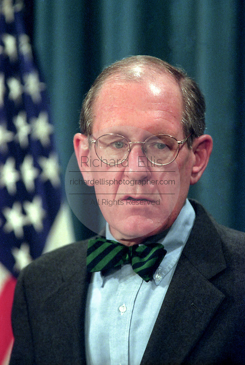 Pentagon spokesman Kenneth Bacon speaks to reporters on the situation in Kosovo at the Pentagon April 13, 1999 in Arlington, VA. Bacon talked about a emergency supplemental appropriation request to Congress for war costs he estimated would be $3 billion to $4 billion.