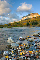 Saint Mary River and Single Shot Mountain in autumn, Glacier National park Montana USA