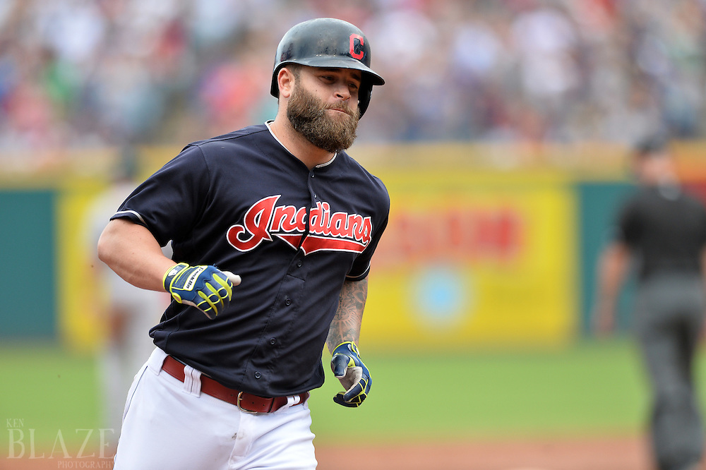Jul 31, 2016; Cleveland, OH, USA; Cleveland Indians designated hitter Mike Napoli (26) rounds the bases after hitting a home run during the third inning against the Oakland Athletics at Progressive Field. Mandatory Credit: Ken Blaze-USA TODAY Sports