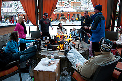 California: Outdoor firepits at skating rink at Northstar at Lake Tahoe.    Photo copyright Lee Foster.  Photo # cataho100213