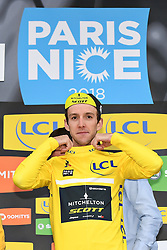 March 10, 2018 - Valdeblore La Colmiane, FRANCE - Britain's Simon Yates of Mitchelton - Scott celebrates on the podium in the yellow jersey of leader in the overall ranking after the seventh stage of the 76th edition of Paris-Nice cycling race, 175km from Nice to Valdeblore La Colmiane, France, Saturday 10 March 2018. The race starts on the 4th and ends on the 11th of March. BELGA PHOTO DAVID STOCKMAN (Credit Image: © David Stockman/Belga via ZUMA Press)