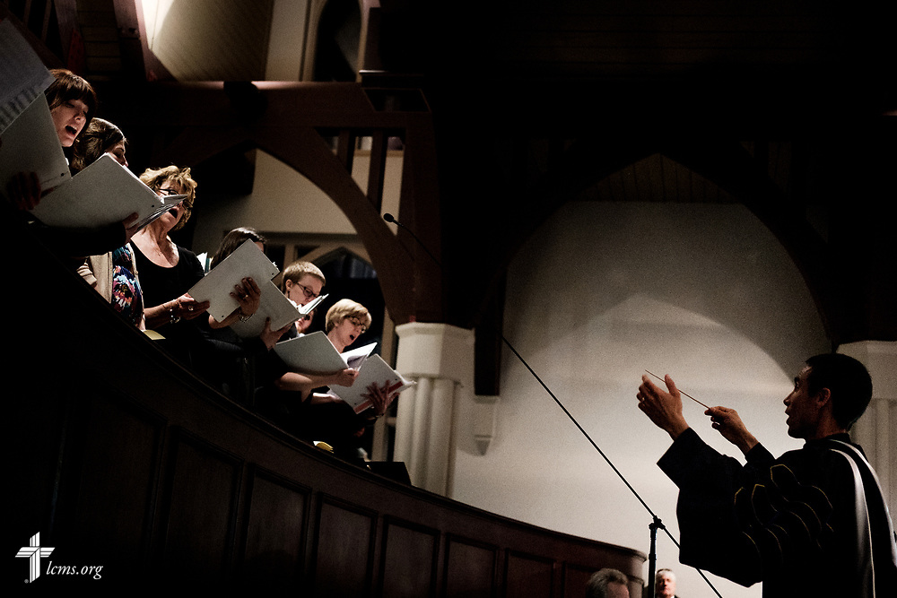 Dr. James Marriott, the Kreft Chair for Music Arts and Director of Musical Arts at Concordia Seminary, St. Louis, leads the choir during the Service of Praise with Assignment of Calls in the Chapel of St. Timothy and St. Titus at the seminary on Tuesday, April 24, 2018. LCMS Communications/Erik M. Lunsford