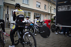 Riders of the Topsport Vlaanderen Etixx Cycling Team prepare for the 2.8km time trial prologue of Elsy Jacobs - a stage race in Luxembourg in Luxembourg on April 29, 2016 in Luxembourg.