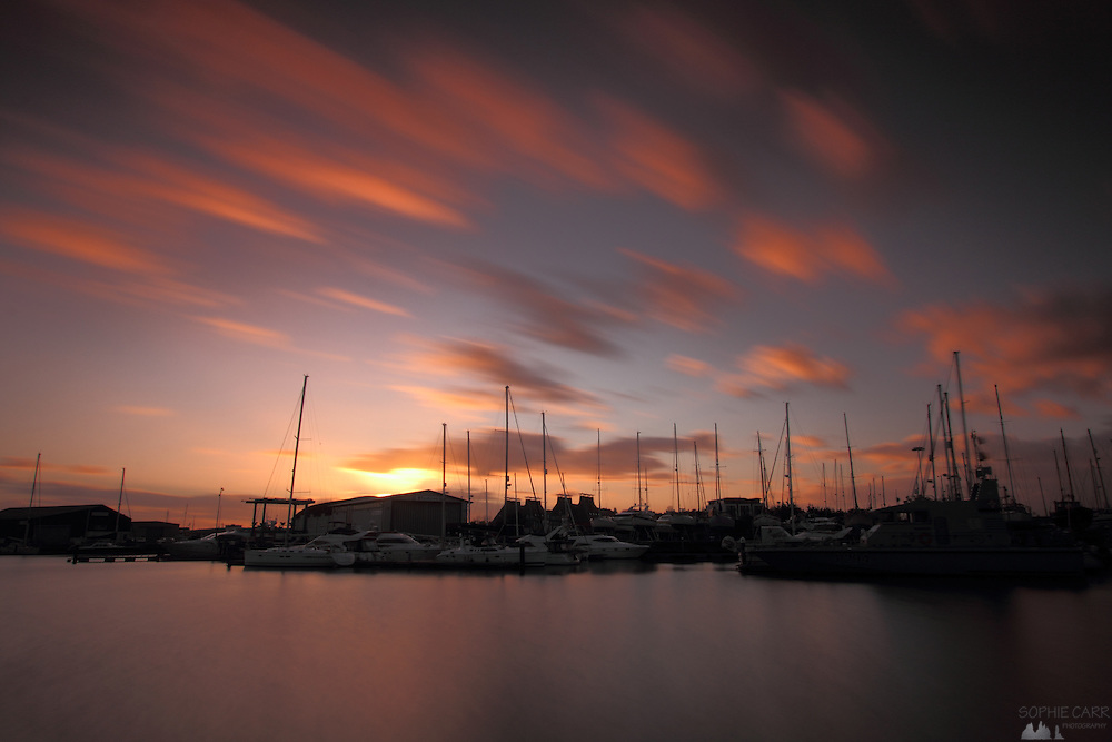 Long exposure at sunset in the harbour area of Ipswich, Suffolk