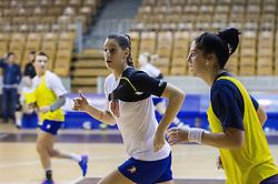 Alja Koren and Maja Son during practice session of Slovenian Women handball National Team three days before match against Serbia, on October 24, 2013 in Arena Tivoli, Ljubljana, Slovenia. (Photo by Vid Ponikvar / Sportida)