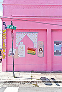 Folk art advertising murals on this  pink-painted, old-school, beauty supplies store at  Northwest 2nd Avenue and 24th Street in Miami's then up-and-coming Wynwood neighborhood in 2008