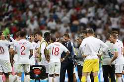 MOSCOW, July 11, 2018  Head coach Gareth Southgate (C) of England gives instructions to players prior to the extra time of the 2018 FIFA World Cup semi-final match between England and Croatia in Moscow, Russia, July 11, 2018. (Credit Image: © Cao Can/Xinhua via ZUMA Wire)