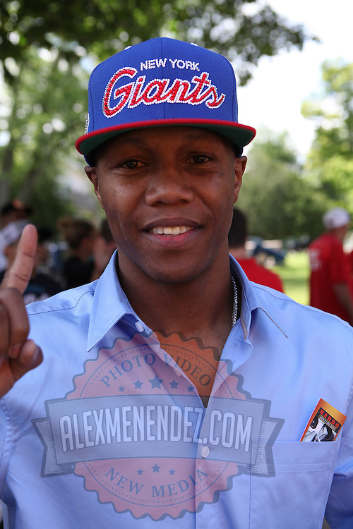 Boxer Zab Judah is seen in the parade of champions during the 2013 International Boxing Hall of Fame induction ceremony  on Sunday, June 9, 2013 in Canastota, New York.  (AP Photo/Alex Menendez)