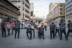July 20, 2017 - Ankara, Turkey - Turkish police officers check pedestrians for weapons at a security checkpoint in Ankara, Turkey on 15 July 2017. (Credit Image: © Diego Cupolo/NurPhoto via ZUMA Press)