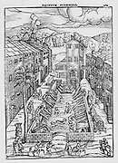 The Baths of Plombiere, woodcut from Thomas Guinta 'De Balneis omnia ...', Venice, 1553.  Mixed public baths were a feature of city life, partic ularly in many of the German city states, but were banned after syphilis and gonorrhea reached epidemic proportions.