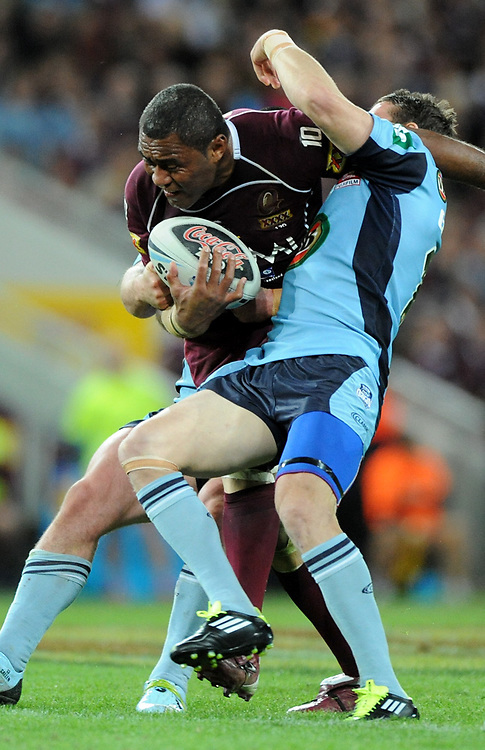July 6th 2011: Petero Civoniceva of the Maroons is tackled during game 3 of the 2011 State of Origin series at Suncorp Stadium in Brisbane, QLD, Australia on July 6, 2011. Photo by Matt Roberts / mattrimages.com.au / QRL