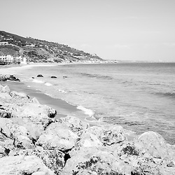 Manibu California coastline black and white photo. Malibu is a beach city in Southern California in the United States of America. Copyright ⓒ 2015 Paul Velgos with All Rights Reserved.