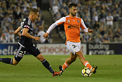 November 11, 2017 - Melbourne, Victoria, Australia - PETROS SKAPETIS (33) of Brisbane controls the ball in the round six match of the A-League between Melbourne Victory and Brisbane Roar at Etihad Stadium, Melbourne, Australia. Melbourne drew 1-1 (Credit Image: © Sydney Low via ZUMA Wire)