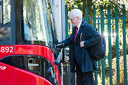 © Licensed to London News Pictures. 29/10/2018. London, UK.  JOHN MCDONNELL, Labour Shadow Chancellor catches a bus from near his London home as he heads for Parliament on Budget day.  Photo credit: Vickie Flores/LNP