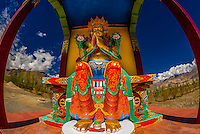 A statue of Chamspa, the Compassionate One, a Maitreya (Future Buddha), Stok Monastery, Leh Valley, Ladakh, Jammu and Kashmir State, India.