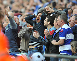 QPR fans react to there team coming close to goal.  - Photo mandatory by-line: Alex James/JMP - Tel: Mobile: 07966 386802 24/04/2014 - SPORT - FOOTBALL - wembley - London -  Derby County V Queens Park Rangers - Play off final