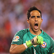 EAST RUTHERFORD, NEW JERSEY - JUNE 26: Goalkeeper Claudio Bravo #1 of Chile reacts after saving a penalty during the penalty shoot out during the Argentina Vs Chile Final match of the Copa America Centenario USA 2016 Tournament at MetLife Stadium on June 26, 2016 in East Rutherford, New Jersey. (Photo by Tim Clayton/Corbis via Getty Images)