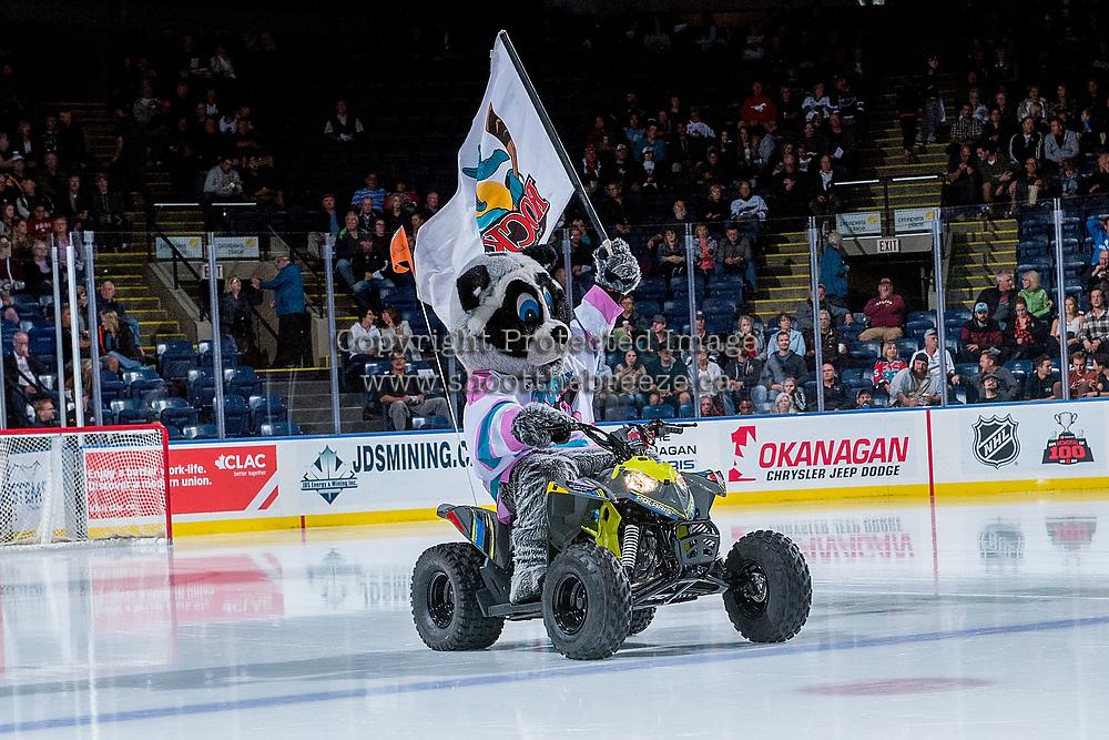 KELOWNA, CANADA - SEPTEMBER 29: Kelowna Rockets' mascot Rocky Racoon enters the ice on his polaris quad against the Everett Silvertips on September 29, 2017 at Prospera Place in Kelowna, British Columbia, Canada.  (Photo by Marissa Baecker/Shoot the Breeze)  *** Local Caption ***