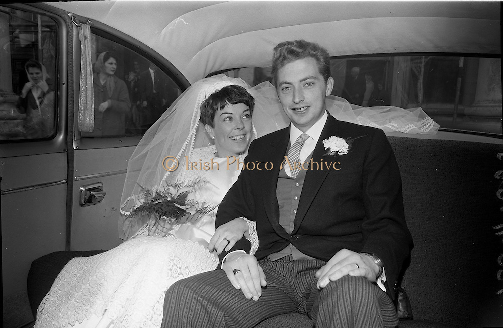 "16/09/1967<br /> 09/16/1967<br /> 16 September 1967<br /> Wedding of Mr Francis W. Moloney, 28 The Stiles Road, Clontarf and Ms Antoinette O'Carroll, ""Melrose"", Leinster Road, Rathmines at Our Lady of Refuge Church, Rathmines, with reception in Colamore Hotel, Coliemore Road, Dalkey. Image shows the Bride and Groom in the car after the ceremony."