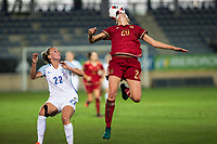 England's Tom Duggan Spain's Irene Paredes during the frendly match between woman teams of  Spain and England at Fernando Escartin Stadium in Guadalajara, Spain. October 25, 2016. (ALTERPHOTOS/Rodrigo Jimenez)