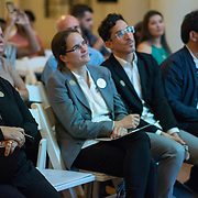 SEPTEMBER 26, 2017---MIAMI, FLORIDA---<br /> Panel members, from left; Dr. Sonia Chao, moderator, Lorena Z&aacute;rate, Alejandro Haiek and Jorge Perez Jaramillo during presentation. This was part of the Miami Dade College series, By the People.<br /> (Photo by Angel Valentin/Freelance).