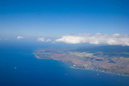 The view of West Maui from an airplane