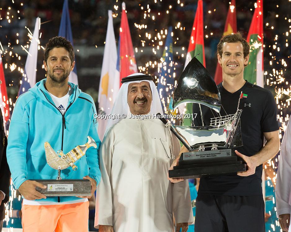 Sheikh Hasher Bin Maktoum Al Maktoum mit Sieger ANDY MURRAY (GBR) und Finalist FERNANDO VERDASCO (ESP), Herren Finale, Siegerehrung, Praesentation<br /> <br /> Tennis - Dubai Duty Free Tennis Championships - ATP -  Dubai Duty Free Tennis Stadium - Dubai -  - United Arab Emirates  - 4 March 2017. <br /> &copy; Juergen Hasenkopf