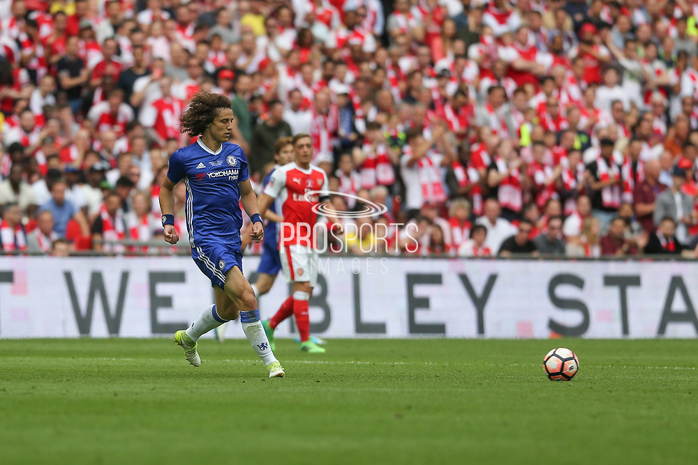 Chelsea's David Luiz(30) passes the ball during the The FA Cup final match between Arsenal and Chelsea at Wembley Stadium, London, England on 27 May 2017. Photo by Shane Healey.