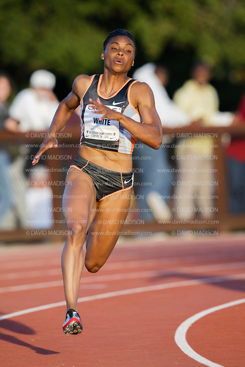 PALO ALTO, CA - JUNE 22:  Kelli White of the USA runs in the Women's 200 meter event of the USA Outdoor Track and Field Championships on June 22, 2002 at Cobb Track & Angell Field on the campus of Stanford University in Palo Alto, California.  (Photo by David Madison/Getty Images)