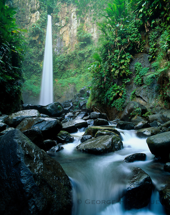 6203-1043B ~ Copyright: George H. H. Huey ~ Sari Sari waterfall [210 feet high], on the Sari Sari River, above the southeast coastal village of La Plaine. Dominica. Windward Islands, Lesser Antilles. Caribbean.