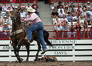 Steer Roper Buster Record Jr. scores a 25.8 in competition, 26 July 2007, Cheyenne Frontier Days