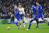 Football - 2018 / 2019 Premier League - Cardiff City vs Tottenham Hotspur<br /> <br /> Bamidele Alli of Spurs tackled by Aron Gunnarsson Cardiff City as Cardiff defend   .. at the Cardiff City Stadium<br /> <br /> Credit:: COLORSPORT/WINSTON BYNORTH