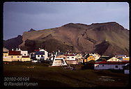 Cliffs tower in distance as tawny light of sunrise greets town of Vestmanneyjar(Heimaey)/August Iceland