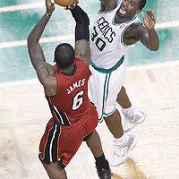 07 June 2012: Miami Heat small forward LeBron James (6) takes a jumpshot over Boston Celtics power forward Brandon Bass (30) during first half of Game 6 of the Eastern Conference Finals playoff series, Heat at Celtics at the TD Banknorth Garden, Boston, Massachusetts, USA.