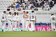 Steven Patterson of Yorkshire celebrates after taking the wicket of Sam Curran during the Specsavers County C'ship Div One match at the Kia Oval, London<br /> Picture by Simon Dael/Focus Images Ltd 07866 555979<br /> 11/05/2018