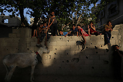 59581099 .Palestinian refugee children play in front of their family house in a poverty-stricken quarter in northern Gaza Strip town Beit Lahiya on April 28, 2013. Reports said that an increasing number of Gazan families are falling further into poverty, with unemployment rates at over 30 percent according to 2012 estimates, on April 28, 2013, 29, April 2013. Photo by: i-Images.UK ONLY