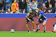 Hull City Striker Adama Diomande (20) and Chelsea defender Cesar Azpilicueta (28) fight for ball during the Premier League match between Hull City and Chelsea at the KCOM Stadium, Kingston upon Hull, England on 1 October 2016. Photo by Ian Lyall.