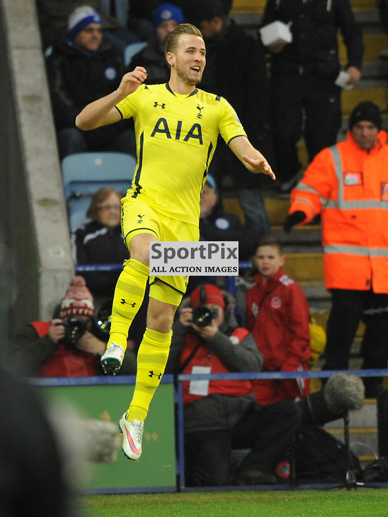 Harry Kane Celebrates His Goal at Leicester, Leicester City v Tottenham Hotspur, Premier League, King Power Stadium, Friday, Boxing Day, 26th December 2014