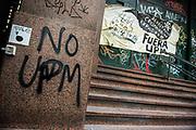 Santiago Mazzarovich/ URUGUAY/ MONTEVIDEO/ Diversos colectivos sociales realizaron una marcha contra la instalaci&oacute;n de la segunda planta de UPM.<br /> <br /> En la foto: Movilizaci&oacute;n contra UPM 2. Foto: Santiago Mazzarovich / adhocFOTOS