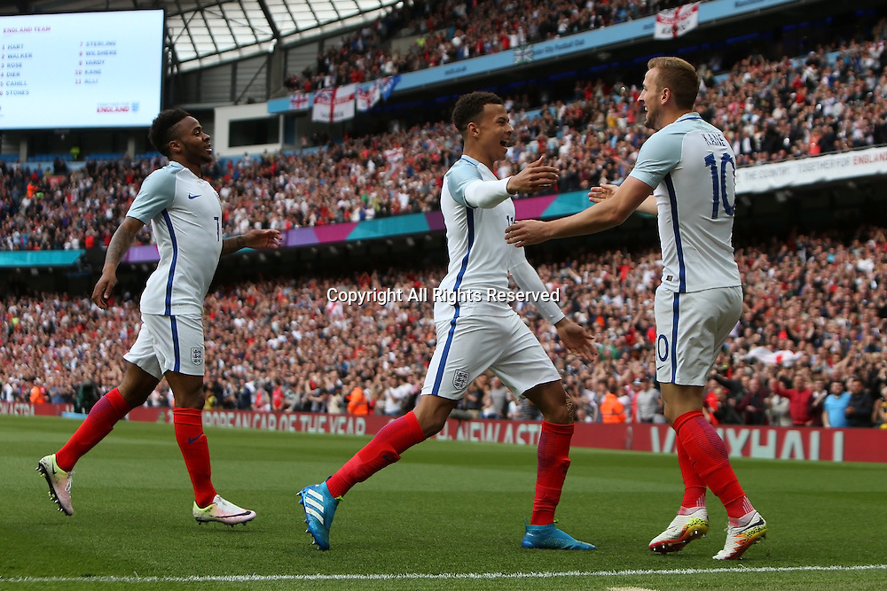 22.05.2016. Etihad Stadium, Manchester, England. International football friendly match, England versus Turkey. Harry Kane celebrates his goal with teammates Dele Ali and Raheem Sterling