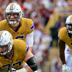 Sep 17, 2016; Baton Rouge, LA, USA;  LSU Tigers quarterback Danny Etling (16) under center against the Mississippi State Bulldogs during the first quarter of a game at Tiger Stadium. Mandatory Credit: Derick E. Hingle-USA TODAY Sports