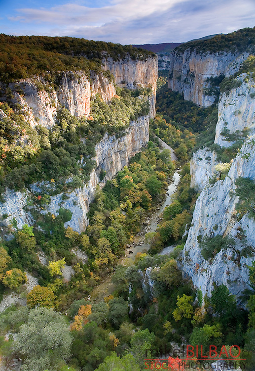 Gorge in Foz de Arbayun Natural Reserve and Salazar river.<br /> Pirineos Orientales County,  Pyrenees Mountain Range, Navarre, Spain, Europe.