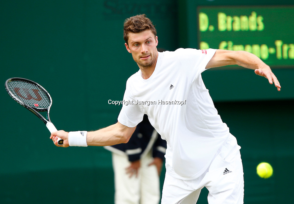 Wimbledon Championships 2013, AELTC,London,<br /> ITF Grand Slam Tennis Tournament,<br /> Daniel Brands (GER),Aktion,Einzelbild,<br /> Halbkoerper,Querformat,