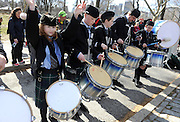 Members of the New York Metro Junior Pipe Band perform during the 12th annual Scotland Run in New York's Central Park to  kick off Scotland Week festivities, Saturday, April 4, 2015.  (Photo by Diane Bondareff/Invision for Scottish Government/AP Images)
