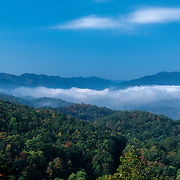 Early morning fog laying over the mountains, West Virginia