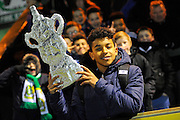 A young Yeovil fan with a home made FA Cup before the The FA Cup Third Round Replay match between Yeovil Town and Carlisle United at Huish Park, Yeovil, England on 19 January 2016. Photo by Graham Hunt.
