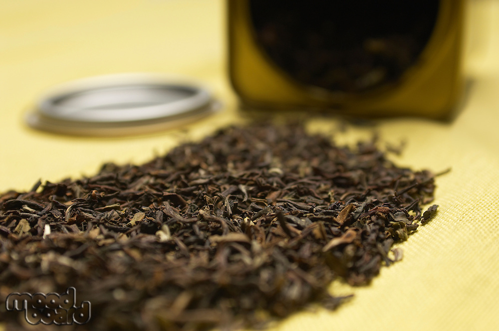 Dried tea leaves, close-up