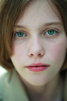 Portrait of a young girl, London, England.